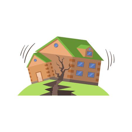 Huse In Terremoto, Forze naturali minaccia illustrazione vettoriale piatto. Assicurazione Caso Illustrazioni Disegno In infantile stile cartone animato. Vettoriali