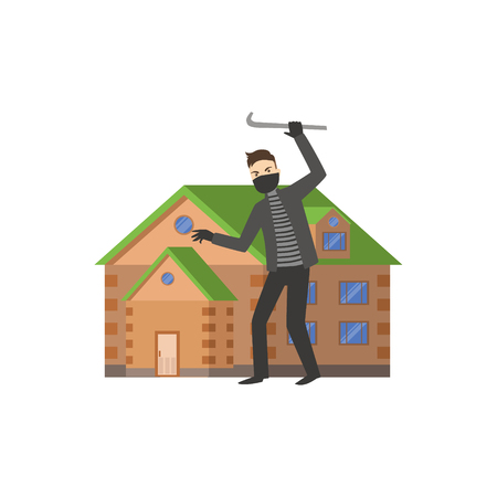 burglar: House And A Burglar Flat Vector Illustration. Insurance Case Clipart Drawing In Childish Cartoon Style.