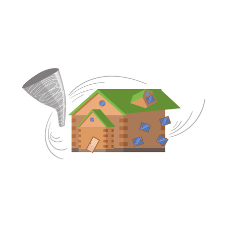 natural forces: House And Tornado, Natural Forces Threat Flat Vector Illustration. Insurance Case Clipart Drawing In Childish Cartoon Style.