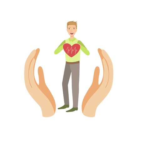 hospital expenses: Guy Holding Heart With Cardiogram Protected By Two Palms Flat Vector Illustration. Insurance Case Clipart Drawing In Childish Cartoon Style.
