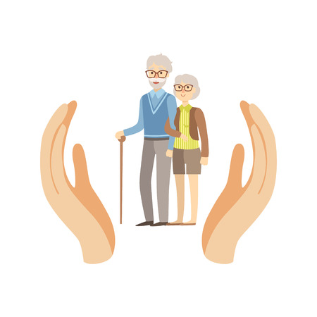 hospice: Old Couple Protected By Two Palms Flat Vector Illustration. Insurance Case Clipart Drawing In Childish Cartoon Style. Illustration