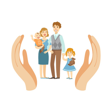 importance: Family Wih Two Kids Protected By Two Palms Flat Vector Illustration. Insurance Case Clipart Drawing In Childish Cartoon Style.