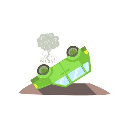 crush on: Car Laying On Its Roof After A Crush Flat Vector Illustration. Insurance Case Clipart Drawing In Childish Cartoon Style.