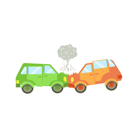 crushing: Two Cars Crushing Into Each Other Flat Vector Illustration. Insurance Case Clipart Drawing In Childish Cartoon Style.