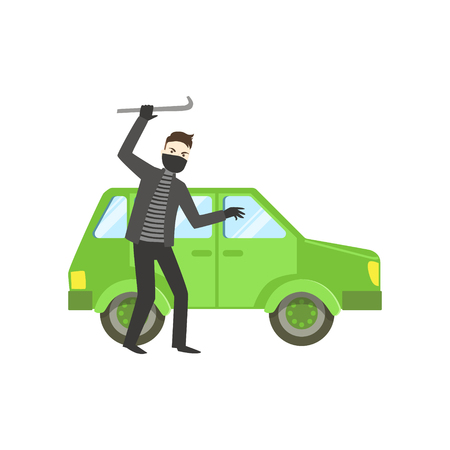 Criminal In Black Robbing The Car Flat Vector Illustration. Insurance Case Clipart Drawing In Childish Cartoon Style. Illustration