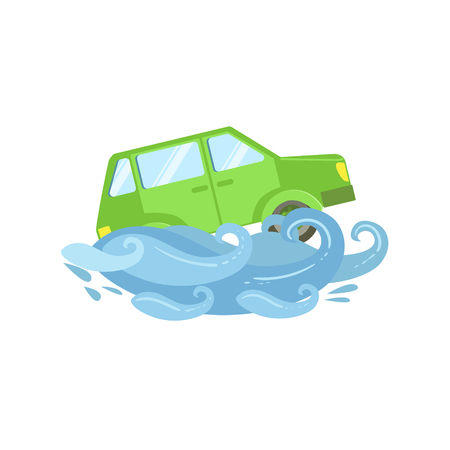 Car Being Carried Away By Flood Flat Vector Illustration. Insurance Case Clipart Drawing In Childish Cartoon Style. Vector Illustration