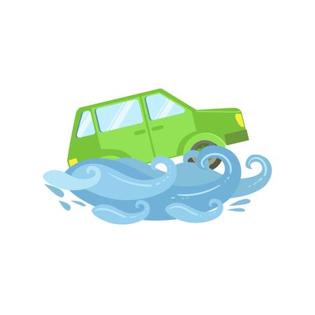 Voiture Être Emporté par Illustration Vecteur Flood plat. Assurance Clipart cas Dessin Dans Childish style de bande dessinée. Vecteurs
