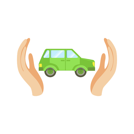 Green Car Protected By Two Palms Flat Vector Illustration. Insurance Case Clipart Drawing In Childish Cartoon Style. Illustration