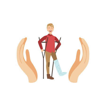 Man On Crouches Protected By Two Palms Flat Vector Illustration. Insurance Case Clipart Drawing In Childish Cartoon Style.