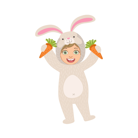 carrots isolated: By Holding Carrots In Rabbit Animal Costume Simple Design Illustration In Cute Fun Cartoon Style Isolated On White Background Illustration