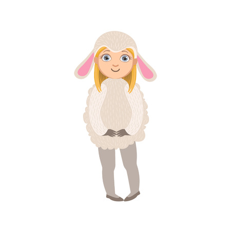 simple girl: Girl Wearing Sheep Animal Costume Simple Design Illustration In Cute Fun Cartoon Style Isolated On White Background Illustration
