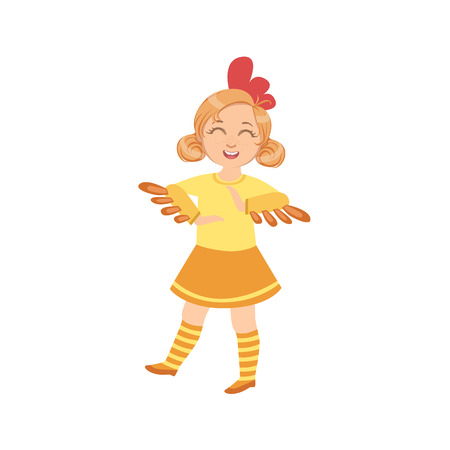 simple girl: Girl Wearing Chicken Animal Costume Simple Design Illustration In Cute Fun Cartoon Style Isolated On White Background