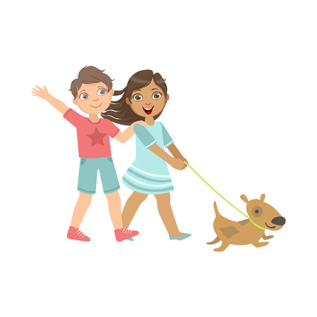 dog walking: Boy And Girl Walking The Dog Together Bright Color Cartoon Simple Style Flat Vector Sticker Isolated On White Background