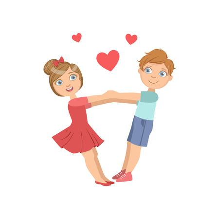Boy And Girl Swinging WIth Hearts Around Them Bright Color Cartoon Simple Style Flat Vector Sticker Isolated On White Background