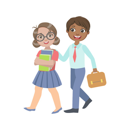 wooing: Boy And Girl Walking From School Together Bright Color Cartoon Simple Style Flat Vector Sticker Isolated On White Background