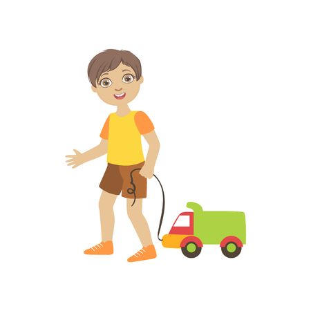 dragging: Boy Walking Dragging Toy Truck On A Srting Simple Design Illustration In Cute Fun Cartoon Style Isolated On White Background
