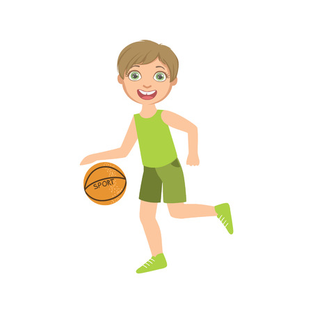 Boy Playing Basketball In Green Clothes Simple Design Illustration In Cute Fun Cartoon Style Isolated On White Background