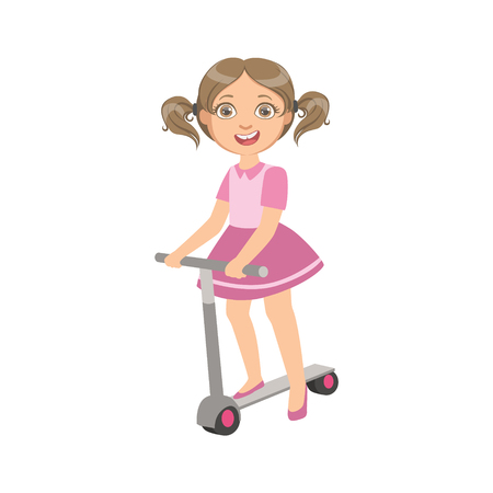 ponytails: Girl With Ponytails Riding Scooter Simple Design Illustration In Cute Fun Cartoon Style Isolated On White Background Illustration