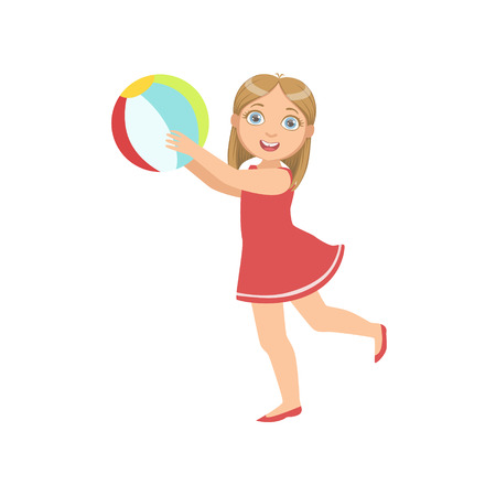 inflatable ball: Girl Playing Inflatable Ball Simple Design Illustration In Cute Fun Cartoon Style Isolated On White Background