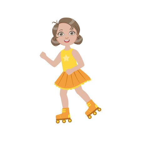 child girl: Girl Roller Skating Outdoors Simple Design Illustration In Cute Fun Cartoon Style Isolated On White Background