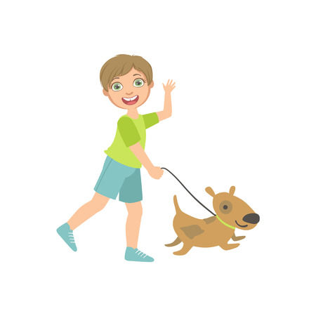 dog walking: Boy Walking A Dog On The Leash Simple Design Illustration In Cute Fun Cartoon Style Isolated On White Background