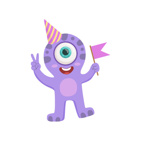 attributes: Purple Friendly Monster In Party Hat Cute Childish Sticker. Flat Cartoon Colorful Alien Character With Party Attributes Isolated On White Background. Illustration