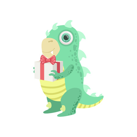 attributes: Dragon-like Friendly Monster With Gift Cute Childish Sticker. Flat Cartoon Colorful Alien Character With Party Attributes Isolated On White Background.