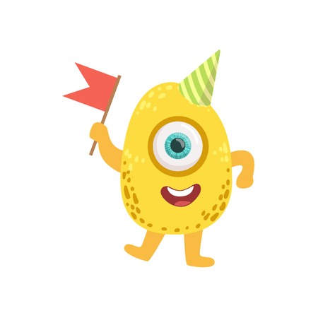 attributes: Jelly Bean Friendly Monster With Flag Cute Childish Sticker. Flat Cartoon Colorful Alien Character With Party Attributes Isolated On White Background.