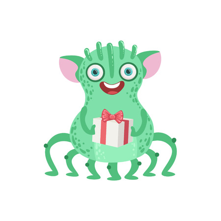 attributes: Many-legged Friendly Monster With Gift Cute Childish Sticker. Flat Cartoon Colorful Alien Character With Party Attributes Isolated On White Background.