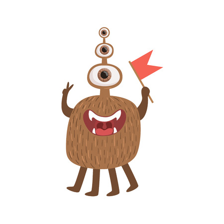 attributes: Bromn Many-eyed Friendly Monster With Flag Cute Childish Sticker. Flat Cartoon Colorful Alien Character With Party Attributes Isolated On White Background. Illustration