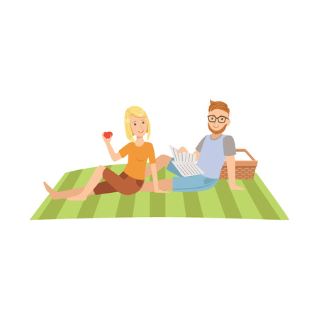 man reading: Woman Eating Apple And Man Reading Newspaper On Picnic Bright Color Cartoon Simple Style Flat Vector Clipart Isolated Illustration