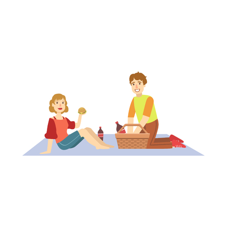 Couple Eating Burgers On Picnic Bright Color Cartoon Simple Style Flat Vector Clipart Isolated Illustration Vectores