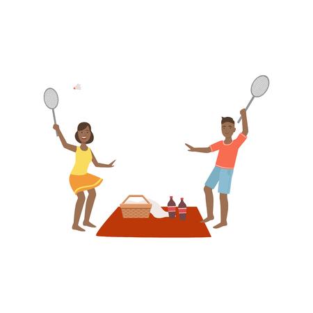 pareja comiendo: Pares que juegan a bádminton en la comida campestre brillante del color de la historieta del estilo simple plana Vector ilustración de Clipart
