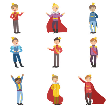 Little Boys Dressed As Fairy Tale Princess Set Of Cute Flat Characters In Bright Colored Clothes Isolated On White Background Vettoriali