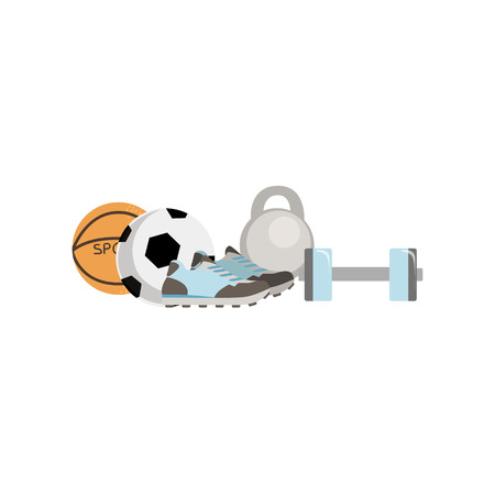 Physical Education Related Objects Composition, Simple Childish Flat Colorful Illustration On White Background