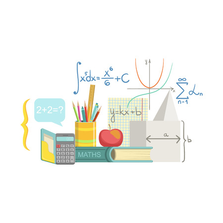 school kit: Mathematics Related Objects Composition, Simple Childish Flat Colorful Illustration On White Background Illustration