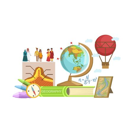 Geography Class Related Objects Composition, Simple Childish Flat Colorful Illustration On White Background