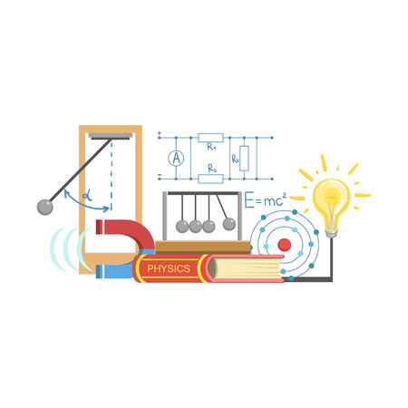 related: Physics Class Related Objects Composition, Simple Childish Flat Colorful Illustration On White Background