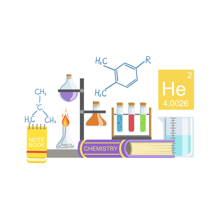 related: Chemistry Class Related Objects Composition, Simple Childish Flat Colorful Illustration On White Background Illustration