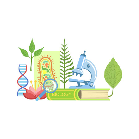 Biology Class Related Objects Composition, Simple Childish Flat Colorful Illustration On White Background Illustration