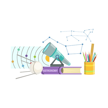 school kit: Astronomy Class Related Objects Composition, Simple Childish Flat Colorful Illustration On White Background Illustration