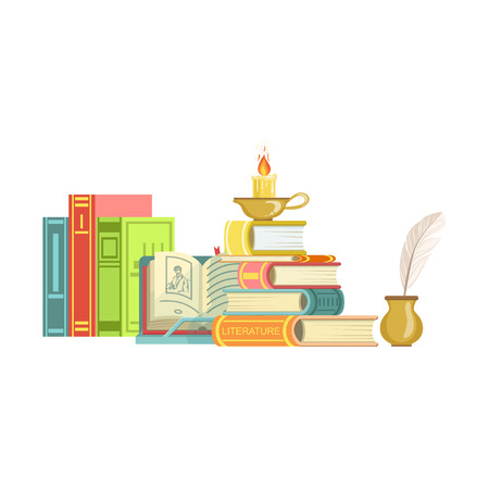 Literature Class Related Objects Composition, Simple Childish Flat Colorful Illustration On White Background