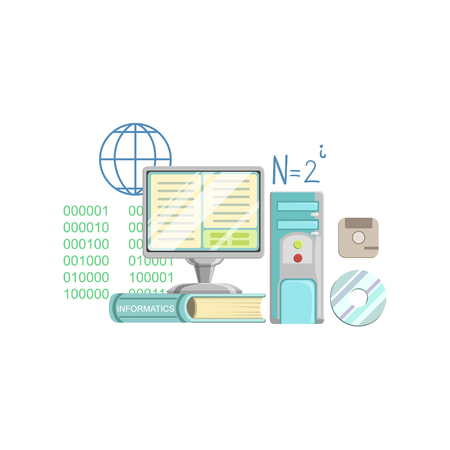 Informatics Class Related Objects Composition, Simple Childish Flat Colorful Illustration On White Background Illustration