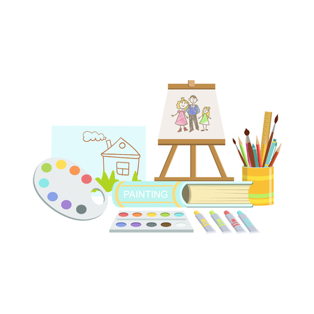 Painting Class Related Objects Composition, Simple Childish Flat Colorful Illustration On White Background