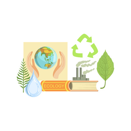 related: Ecology Class Related Objects Composition, Simple Childish Flat Colorful Illustration On White Background