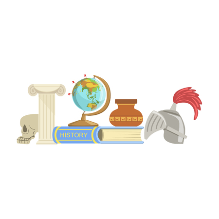 History Class Related Objects Composition, Simple Childish Flat Colorful Illustration On White Background