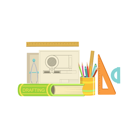 related: Drafting Class Related Objects Composition, Simple Childish Flat Colorful Illustration On White Background