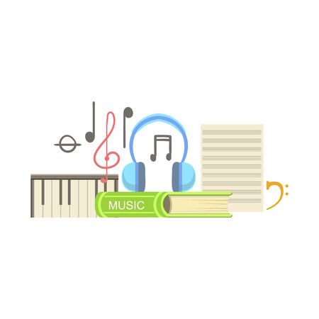 Music Class Related Objects Composition, Simple Childish Flat Colorful Illustration On White Background Illustration