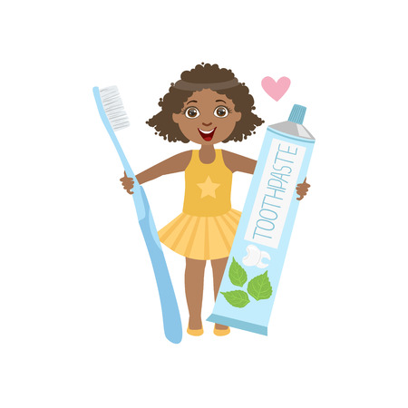 toothpaste tube: Girl Holding Giant Toothpaste Tube And Toothbrush Simple Design Illustration In Cute Fun Cartoon Style Isolated On White Background