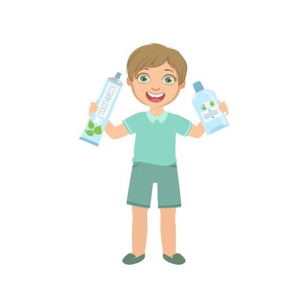 enjuague bucal: Boy celebración de gran tubo de crema dental y enjuague bucal de botella del diseño simple ilustración de estilo de dibujos animados de la diversión linda aislada en fondo blanco